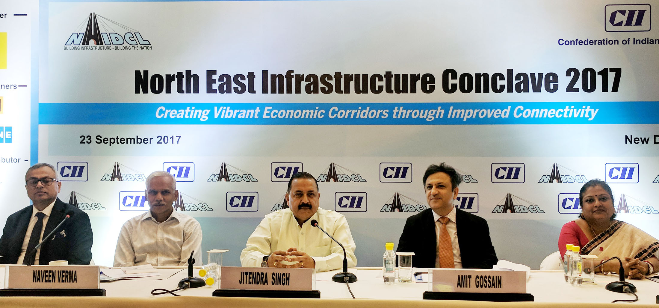 The Minister of State for Development of North Eastern Region (I/C), Prime Minister's Office, Personnel, Public Grievances & Pensions, Atomic Energy and Space, Dr. Jitendra Singh at the North East Infrastructure Conclave, in New Delhi on September 23, 2017. The Secretary, DoNER, Shri Naveen Verma is also seen.