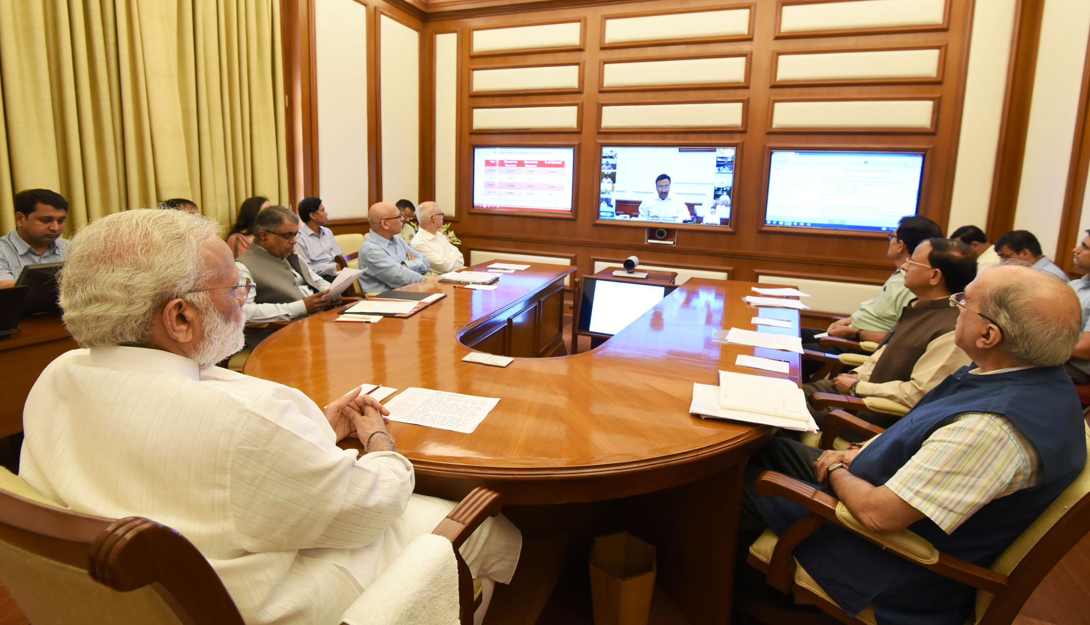 The Prime Minister, Shri Narendra Modi chairing 22nd interaction through PRAGATI - the ICT-based, multi-modal platform for Pro-Active Governance and Timely Implementation, in New Delhi on September 27, 2017.