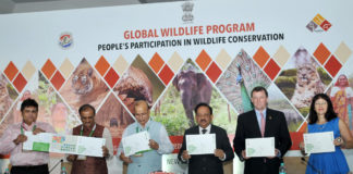 The Union Minister for Science & Technology, Earth Sciences and Environment, Forest & Climate Change, Dr. Harsh Vardhan launching the India National Wildlife Action Plan 2017-2031, at the inauguration of the Global Wildlife Programme, in New Delhi on October 02, 2017. The Secretary, Ministry of Environment, Forest and Climate Change, Shri Ajay Narayan Jha and other dignitaries are also seen.