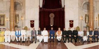 The President, Shri Ram Nath Kovind in a group photograph at the 48th Conference of Governors, at Rashtrapati Bhavan, in New Delhi on October 12, 2017. The Vice President, Shri M. Venkaiah Naidu and the Prime Minister, Shri Narendra Modi are also seen.