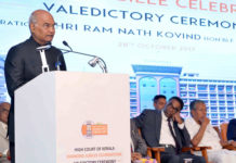 The President, Shri Ram Nath Kovind addressing at the valedictory function of the Diamond Jubilee Celebration of High Court of Kerala, at Kochi, in Kerala on October 28, 2017. The Chief Minister of Kerala, Shri Pinarayi Vijayan is also seen.