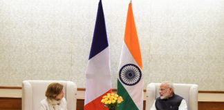 The Minister for the Armed Forces of France, Ms. Florence Parly calling on the Prime Minister, Shri Narendra Modi, in New Delhi on October 28, 2017.