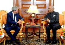 The Prime Minister of the Republic of Italy, Mr. Paolo Gentiloni meeting the President, Shri Ram Nath Kovind, at Rashtrapati Bhavan, in New Delhi on October 30, 2017.