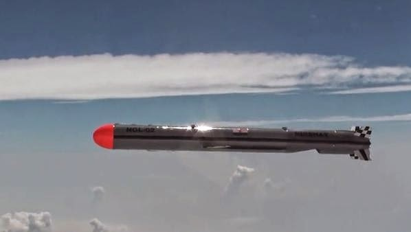 India's Nirbhay cruise missile in flight, filmed from an IAF Jaguar