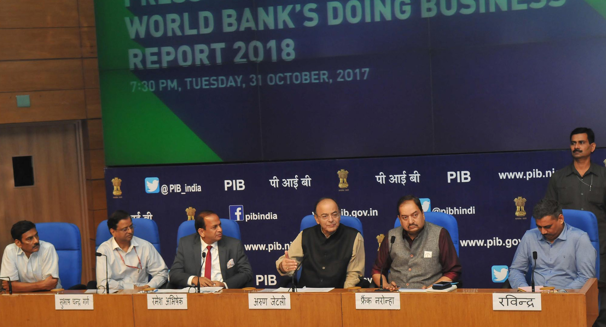 The Union Minister for Finance and Corporate Affairs, Shri Arun Jaitley addressing a press conference on India's ranking in the World Bank's Ease of Doing Business Report 2018, in New Delhi on October 31, 2017. The Secretary, DIPP, Shri Ramesh Abhishek, the Principal Director General (M&C), Press Information Bureau, Shri A.P. Frank Noronha and other dignitaries are also seen.