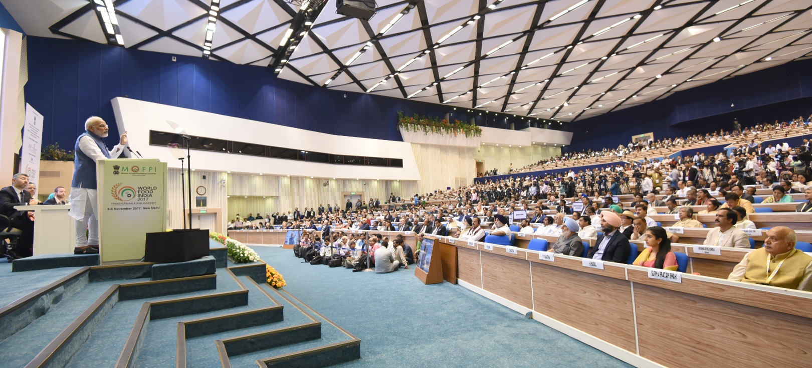 The Prime Minister, Shri Narendra Modi addressing the gathering at the inauguration ceremony of the World Food India 2017, in New Delhi on November 03, 2017.