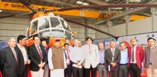 """The Tourism Minister of Uttarakhand, Shri Satpal Maharaj and the Secretary, Ministry of Civil Aviation, Shri R.N. Choubey at the inauguration of the """"1st Heli Expo India & International Civil Helicopter Conclave - 2017"""", in New Delhi on November 04, 2017."""