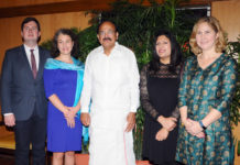 The Vice President, Shri M. Venkaiah Naidu with the Members of British Parliament, Mr. Dan Carden, Ms. Anna McMorrin, Ms. Preet Gill and Ms. Sarah Champion, in New Delhi on November 09, 2017.