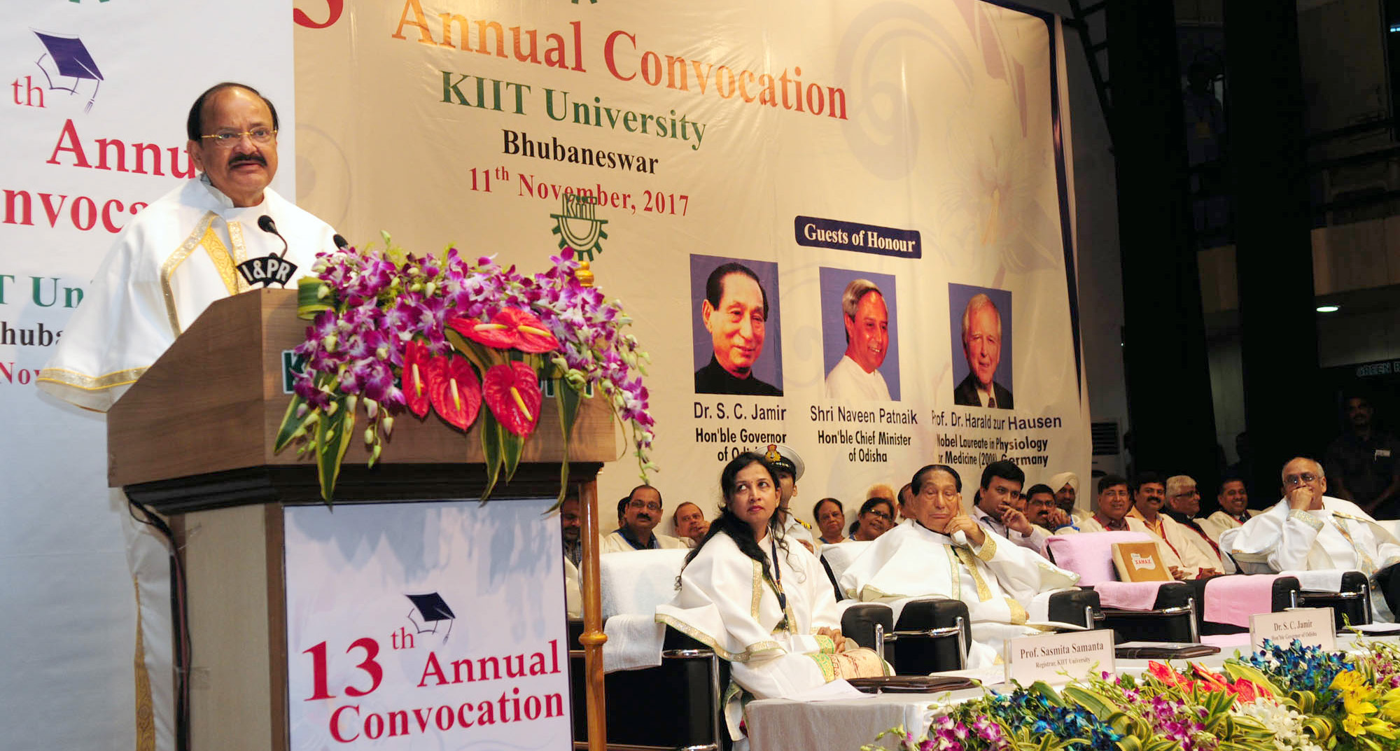 The Vice President, Shri M. Venkaiah Naidu delivering the convocational address of the 13th Annual Convocation of Kalinga Institute of Industrial Technology University, in Bhubaneswar on November 11, 2017. The Governor of Odisha, Shri S.C. Jamir is also seen.