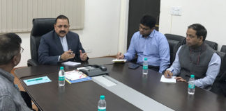 "The Minister of State for Development of North Eastern Region (I/C), Prime Minister's Office, Personnel, Public Grievances & Pensions, Atomic Energy and Space, Dr. Jitendra Singh chairing a meeting to review the status of India's first-ever ""Air Dispensary"" service to be introduced in Northeast, in New Delhi on November 12, 2017."