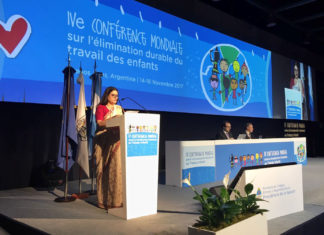 The Union Minister for Women and Child Development, Smt. Maneka Sanjay Gandhi makes country statement at the plenary session of 4th Global Conference on Sustained Eradication of Child Labour, at Buenos Aires, Argentina on November 15, 2017.
