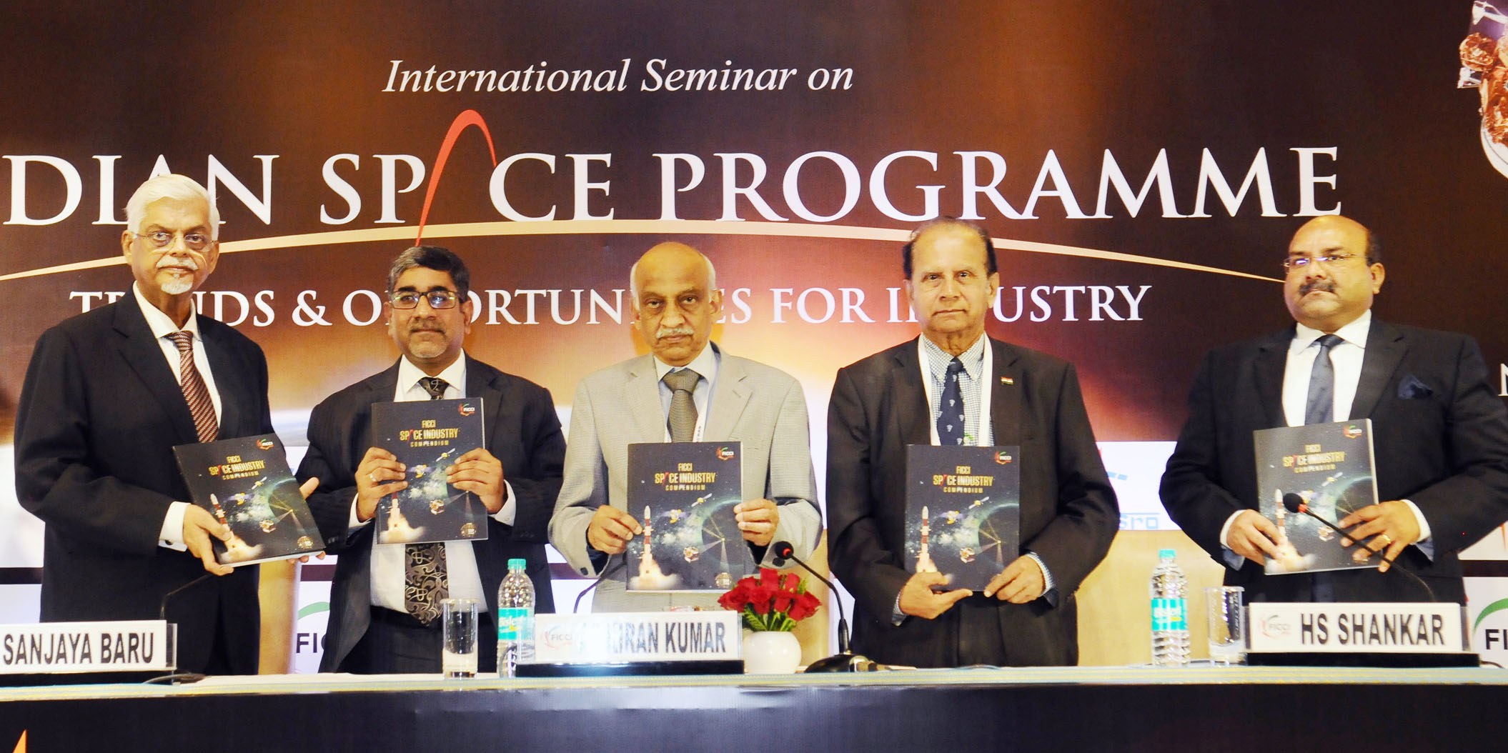 The Secretary, Department of Space, Chairman, Space Commission and Chairman, Indian Space Research Organisation (ISRO), Shri Kiran Kumar releasing the Compendium on Indian Space Industry, at the inauguration of the International Seminar on Indian Space Programme : 'Trends and Opportunities for Industry', in New Delhi on November 20, 2017.
