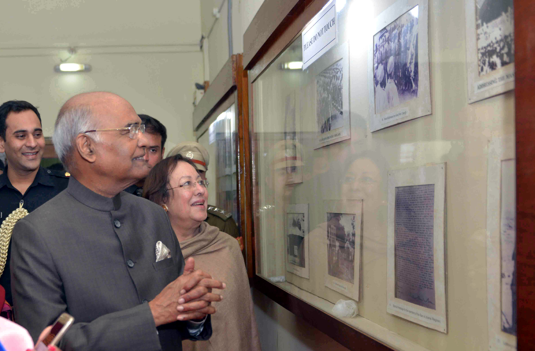 The President, Shri Ram Nath Kovind visiting the INA Museum, at Moirang, in Manipur on November 22, 2017. The Governor of Manipur, Dr. Najma Heptulla is also seen.