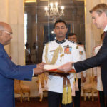 The Ambassador - Designate of Sweden, Mr. Klas Molin presenting his credentials to the President, Shri Ram Nath Kovind, at Rashtrapati Bhavan, in New Delhi on November 23, 2017.