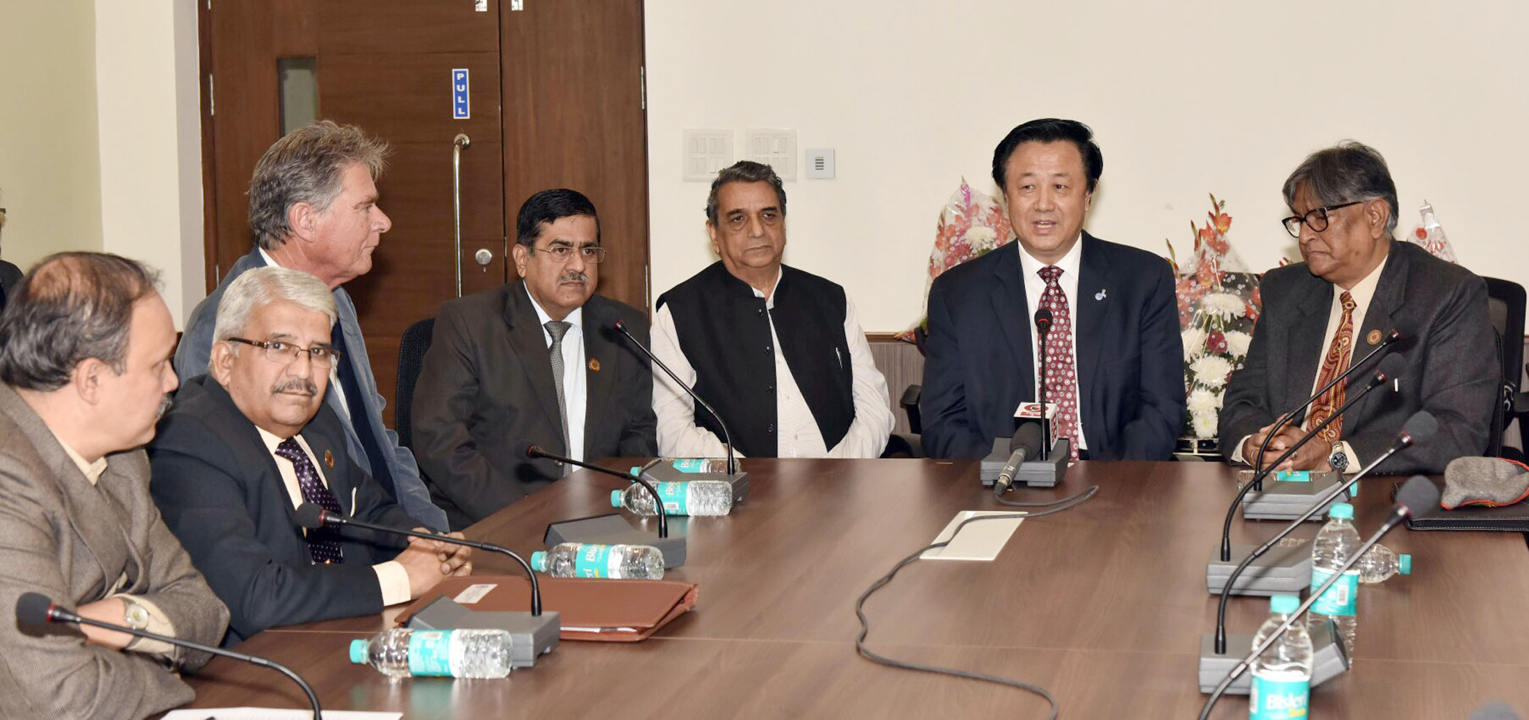 The President of International Union of Geological Sciences, Prof. Qiuming Cheng addressing the media about the 36th International Geological Congress to be held in India in 2020, in New Delhi on November 24, 2017.