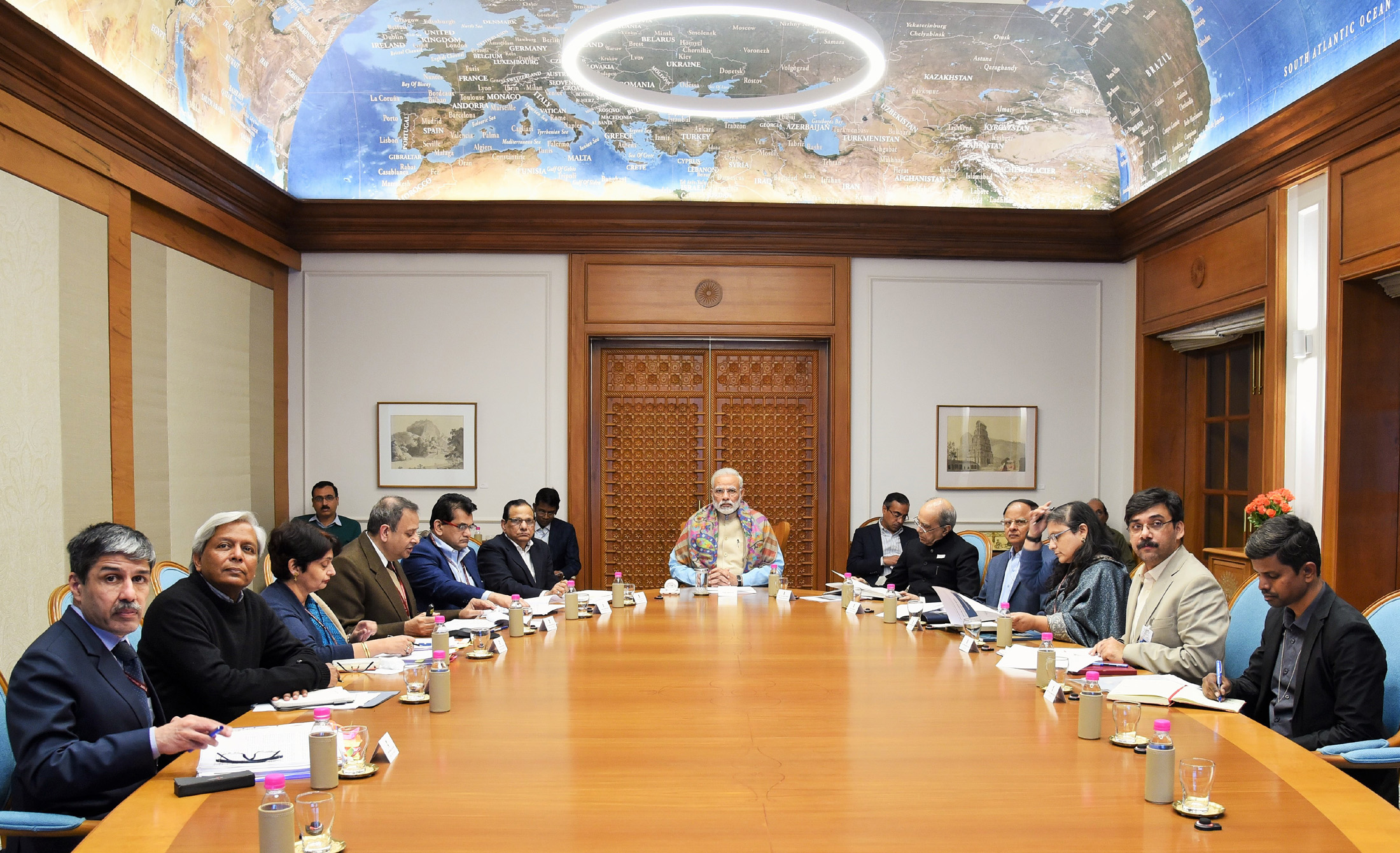 The Prime Minister, Shri Narendra Modi chairing the high-level review meeting on the progress and efforts being made to prevent and reduce under-nutrition and related problems in India, in New Delhi on November 24, 2017.