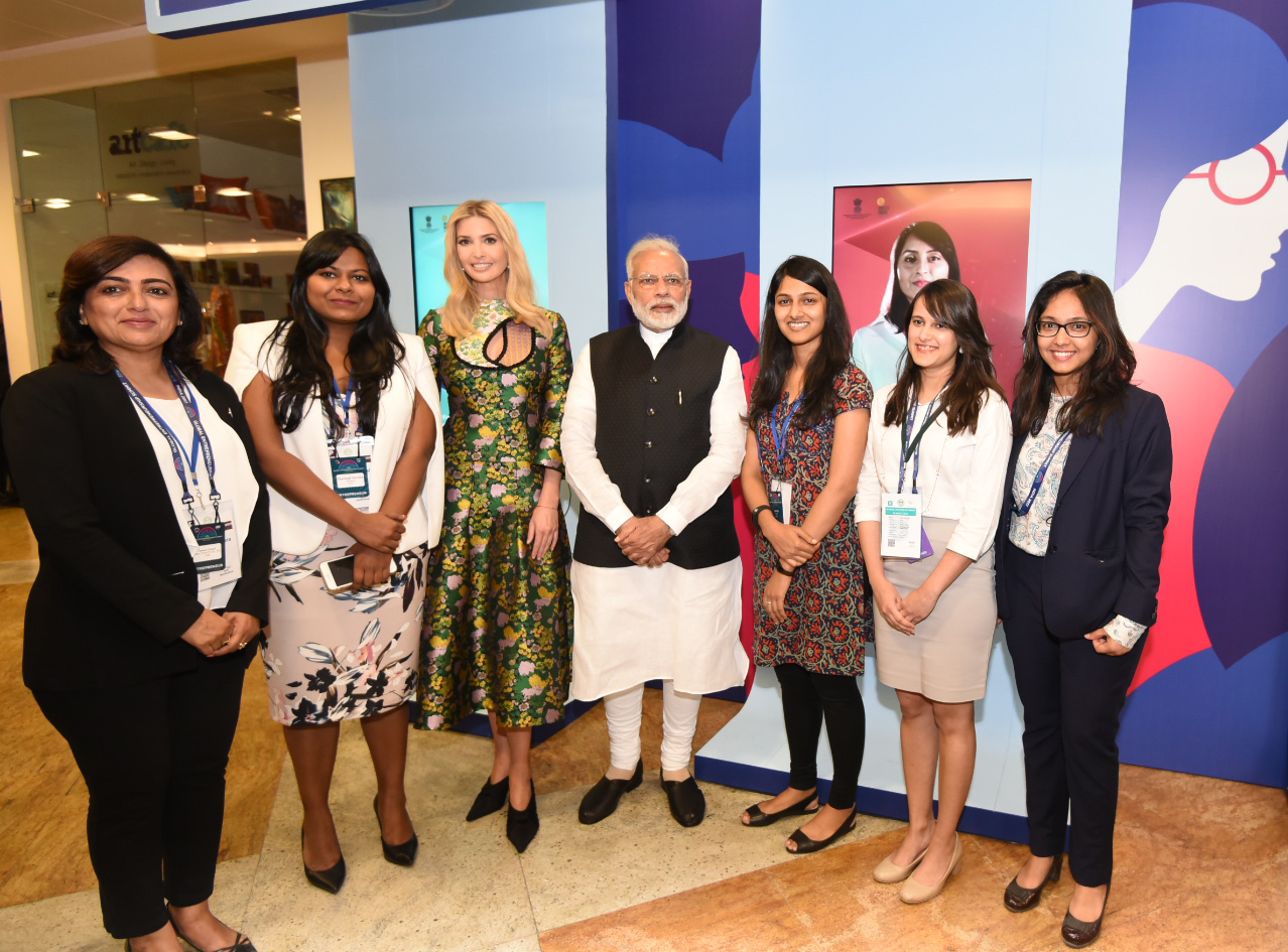 The Prime Minister, Shri Narendra Modi and the Advisor to the President of United States, Ms. Ivanka Trump visiting the Virtual Exhibition, at the Global Entrepreneurship Summit-2017, in Hyderabad on November 28, 2017.