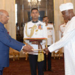 The High Commissioner - Designate of Republic of Nigeria (Retd.), Mr. Major General Chris Sunday Eze presenting his credentials to the President, Shri Ram Nath Kovind, at Rashtrapati Bhavan, in New Delhi on November 23, 2017.