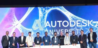 Winners of India Design Week Challenge announced at Autodesk University, India & SAARC, 2017. Officials from Autodesk, NID & Maruti on stage, along with the winners (PRNewsfoto/Autodesk)