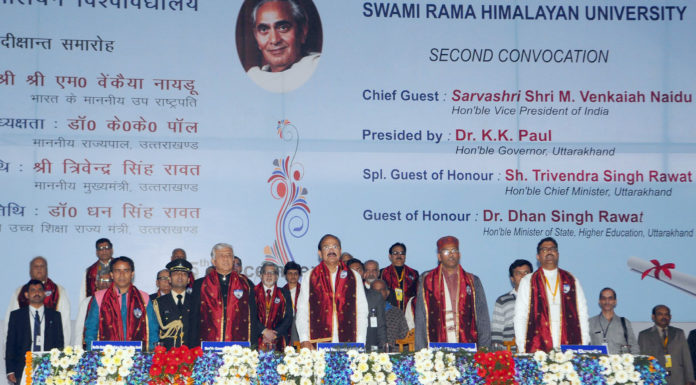 The Vice President, Shri M. Venkaiah Naidu at the 2nd Convocation of Swami Rama Himalayan University, in Dehradun, Uttarakhand on December 05, 2017. The Governor of Uttarakhand, Shri Krishan Kant Paul, the Chief Minister of Uttarakhand, Shri Trivender Singh Rawat, the Minister of State for Higher Education, Uttarakhand, Dr. Dhan Singh Rawat and other dignitaries are also seen.