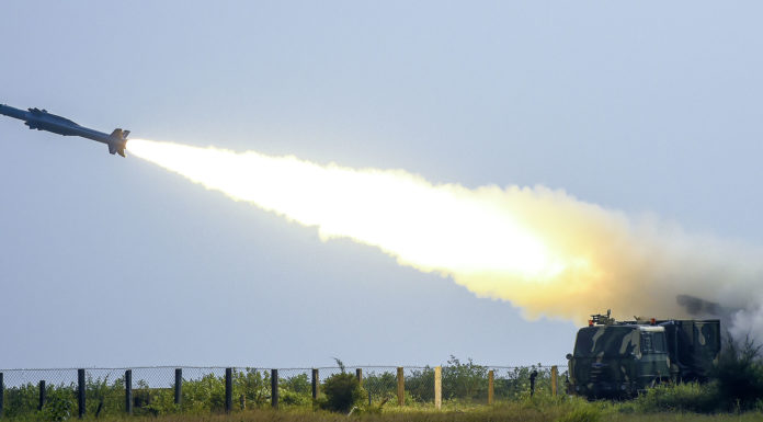 Surface to Air Missile AKASH with indigenous seeker, successfully test fired from the Launch Complex-III, at ITR Chandipur, Odisha on December 05, 2017.