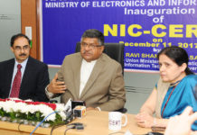 The Union Minister for Electronics & Information Technology and Law & Justice, Shri Ravi Shankar Prasad addressing a press conference at the inauguration of the NIC Data Security Centre, in New Delhi on December 11, 2017. The Secretary, Ministry of Electronics & Information Technology, Shri Ajay Prakash Sawhney is also seen.