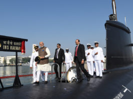 The Prime Minister, Shri Narendra Modi at the commissioning ceremony of the Naval Submarine INS Kalvari into the Indian Navy, in Mumbai on December 14, 2017.