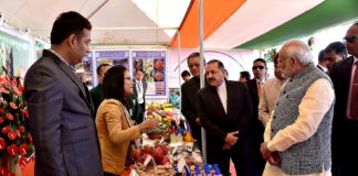 The Prime Minister, Shri Narendra Modi walks through the exhibition of farm produce of North-East and display of relevant farm and non-farm technologies, at Assam Rifles Cant, Aizawl on December 16, 2017. The Minister of State for Development of North Eastern Region (I/C), Prime Minister's Office, Personnel, Public Grievances & Pensions, Atomic Energy and Space, Dr. Jitendra Singh is also seen.