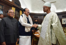 The President of the High Court of Justice, Mr. Abdrahamane Niang calling on the Vice President and the Chairman, Rajya Sabha, Shri. M. Venkaiah Naidu, in New Delhi on December 21, 2017. The Deputy Chairman, Rajya Sabha, Dr. P.J. Kurien is also seen.