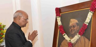 The President, Shri Ram Nath Kovind paying homage to Netaji Subhas Chandra Bose on his birth anniversary at Parliament House, in New Delhi on January 23, 2018.