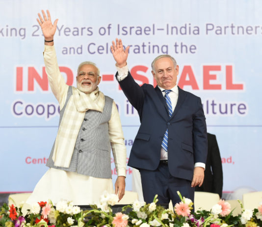 The Prime Minister, Shri Narendra Modi and the Prime Minister of Israel, Mr. Benjamin Netanyahu, at the Centre of Excellence for Vegetables, at Vadrad, in Gujarat on January 16, 2018.