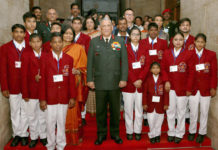 The Chief of Army Staff, General Bipin Rawat with the children winning the National Bravery Awards for 2017, in New Delhi on January 18, 2018.