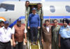 The Union Minister for Science & Technology, Earth Sciences and Environment, Forest & Climate Change, Dr. Harsh Vardhan coming out of SARAS PT1N aircraft, in Bengaluru on February 21, 2018.
