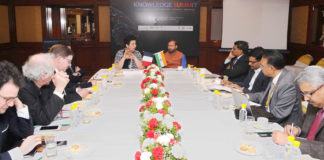 The Union Minister for Human Resource Development, Shri Prakash Javadekar in a bilateral meeting with the French Minister of Higher Education, Research and Innovation, Mrs. Frederique Vidal, at the closing ceremony of the 'Knowledge Summit', in New Delhi on March 11, 2018.