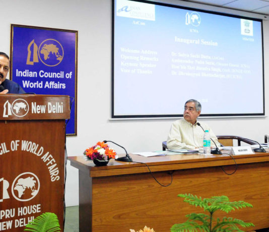 "The Minister of State for Development of North Eastern Region (I/C), Prime Minister's Office, Personnel, Public Grievances & Pensions, Atomic Energy and Space, Dr. Jitendra Singh addressing the the inaugural session of the international seminar on ""The Age of Multilaterlism and Connecting India's North East:Opportunities and Challenges"", in New Delhi on March 19, 2018. The Director General, ICWA, Shri Nalin Surie is also seen."
