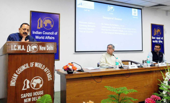 """The Minister of State for Development of North Eastern Region (I/C), Prime Minister's Office, Personnel, Public Grievances & Pensions, Atomic Energy and Space, Dr. Jitendra Singh addressing the the inaugural session of the international seminar on """"The Age of Multilaterlism and Connecting India's North East:Opportunities and Challenges"""", in New Delhi on March 19, 2018. The Director General, ICWA, Shri Nalin Surie is also seen."""