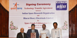 The Chairman, ISRO, Dr. K. Sivan, the CMD, BHEL, Shri Atul Sobti, the Director, BHEL (E,R&D), Shri Subrata Biswas and the Director, Vikram Sarabhai Space Centre, Shri S. Somanath, during the Technology Transfer Agreement (TTA) signing ceremony, at Bengaluru on March 22, 2018.