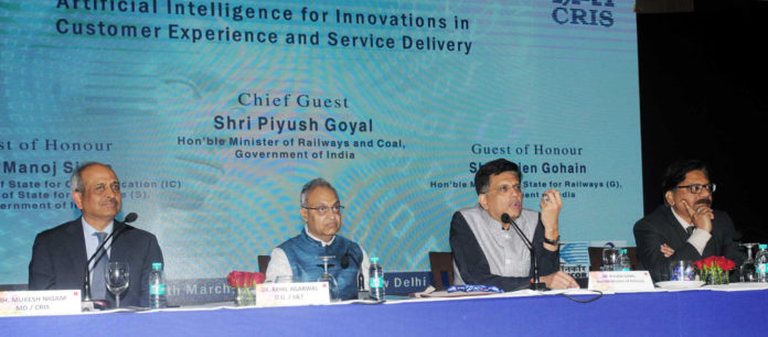 """The Union Minister for Railways and Coal, Shri Piyush Goyal addressing a Conference on """"Artificial Intelligence for Innovations in Customer Experience and Service Delivery"""", in New Delhi on March 24, 2018."""