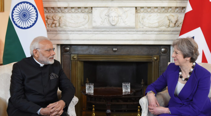 The Prime Minister, Shri Narendra Modi meeting the Prime Minister of United Kingdom, Ms. Theresa May, at 10 Downing Street, in London on April 18, 2018.