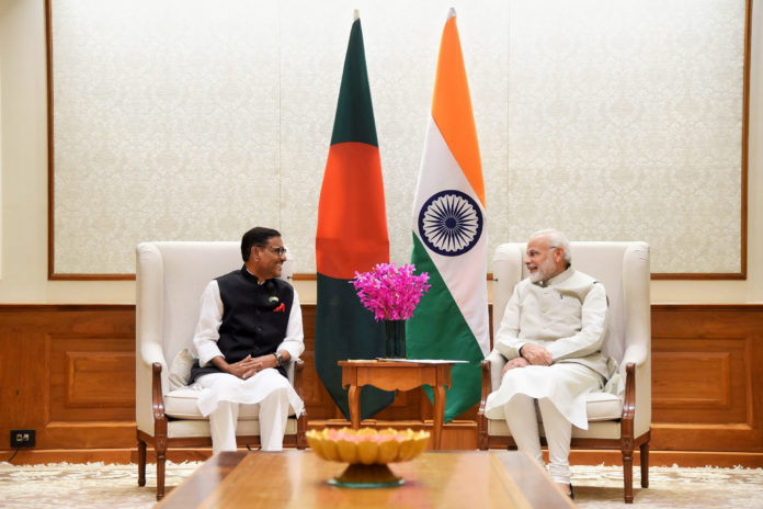 The Awami League General Secretary and Minister of Road Transport, Bangladesh, Mr. Obaidul Quader calling on the Prime Minister, Shri Narendra Modi, in New Delhi on April 23, 2018.