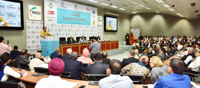 The Union Minister for Commerce & Industry and Civil Aviation, Shri Suresh Prabhakar Prabhu delivering the inaugural address at the Global Logistics Summit, in New Delhi on April 05, 2018.