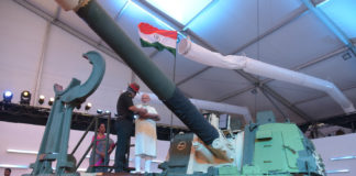 The Prime Minister, Shri Narendra Modi witnessing the demonstration of equipment of the three Armed forces, at the inauguration ceremony of the DefExpo India-2018, at Mahabalipuram, Tamil Nadu on April 12, 2018.