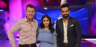 Brett Lee, Alia Bhatt and Irfan Pathan at Kent Cricket Live, Star Sports Studio