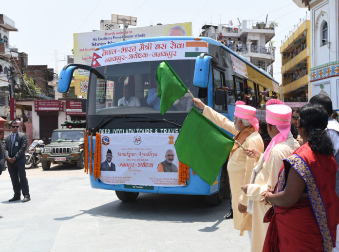 The Prime Minister, Shri Narendra Modi and the Prime Minister of Nepal, Shri K.P. Sharma Oli flags off the bus service from Nepal's Janakpur to Uttar Pradesh's Ayodhya, at Janakpur, Nepal on May 11, 2018.