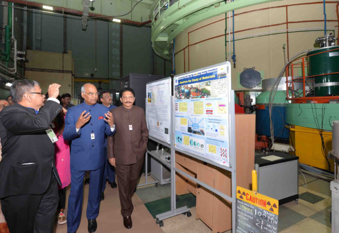 he President, Shri Ram Nath Kovind visiting an exhibition on Department of Atomic Energy (DAE) technologies at Bhabha Atomic Research Centre (BARC), in Trombay, Mumbai on May 15, 2018. The Governor of Maharashtra, Shri C. Vidyasagar Rao is also seen