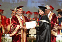 The Prime Minister, Shri Narendra Modi at the Convocation of the Sher-E-Kashmir University of Agricultural Sciences and Technology, in Jammu on May 19, 2018. The Governor of Jammu and Kashmir, Shri N.N. Vohra, the Minister of State for Development of North Eastern Region (I/C), Prime Minister's Office, Personnel, Public Grievances & Pensions, Atomic Energy and Space, Dr. Jitendra Singh, the Chief Minister of Jammu and Kashmir, Ms. Mehbooba Mufti and other dignitaries are also seen.