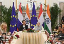The Prime Minister, Shri Narendra Modi with the Prime Minister of the Kingdom of Netherlands, Mr. Mark Rutte at the India- Netherlands CEOs Roundtable meeting, at Hyderabad House, in New Delhi on May 24, 2018.