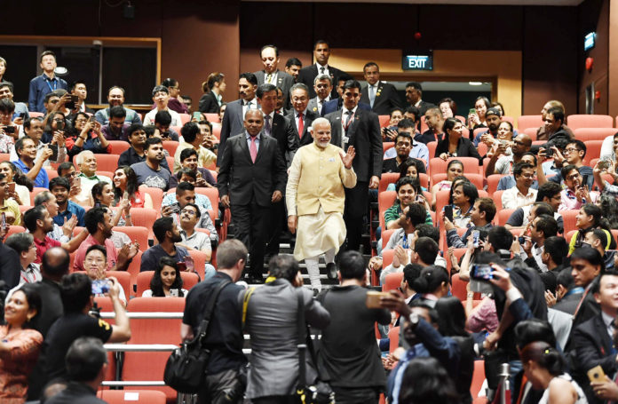 The Prime Minister, Shri Narendra Modi during his visit to Nanyang Technological University, in Singapore on June 01, 2018.