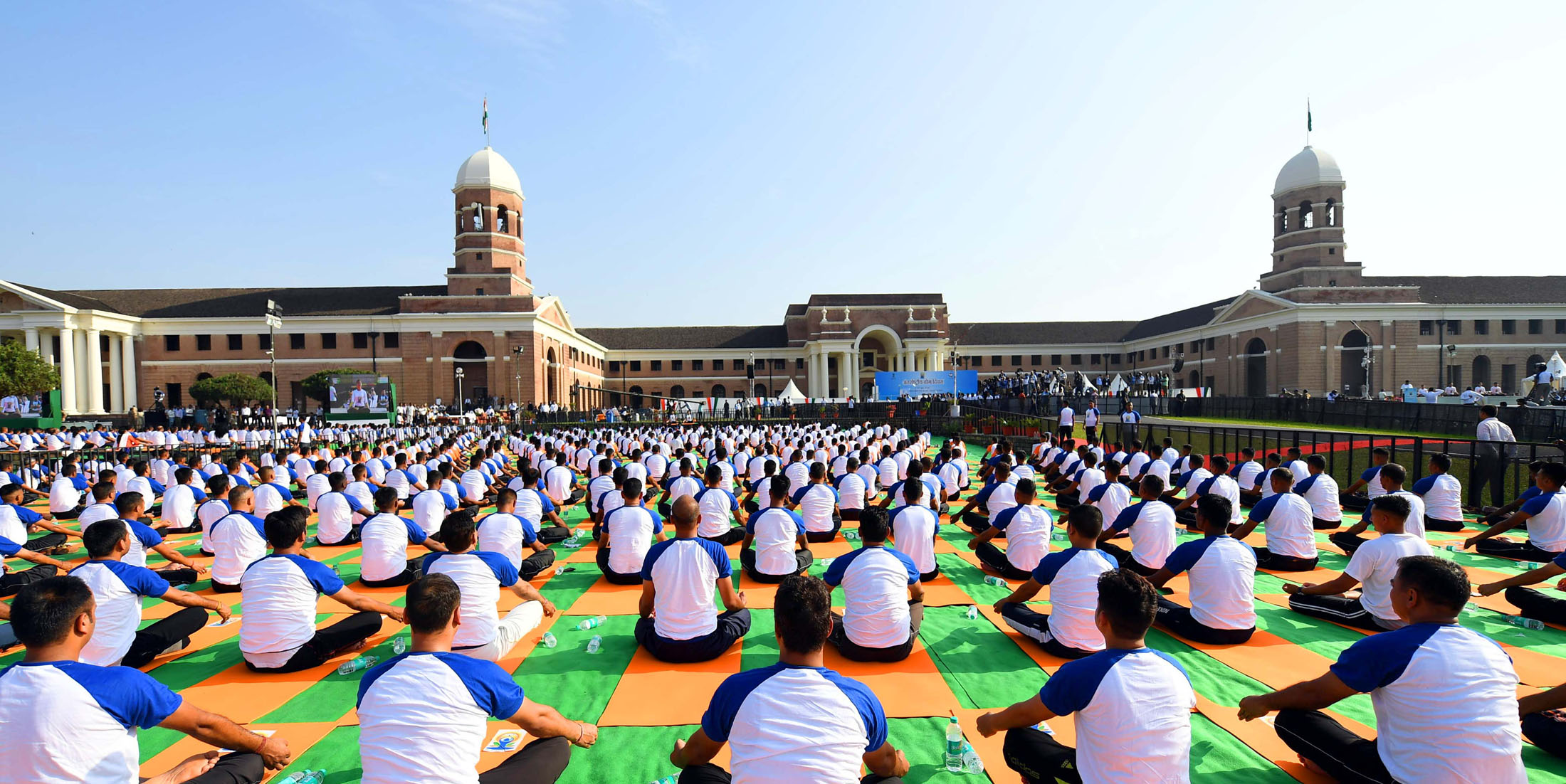 A view of the 4th International Day of Yoga 2018, at the Forest Research Institute, in Dehradun, Uttarakhand on June 21, 2018.