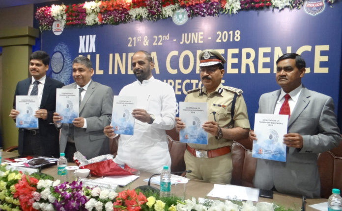 The Minister of State for Home Affairs, Shri Hansraj Gangaram Ahir releasing a 'Compendium of Fingerprint Equipment', at the 19th All India Conference of Directors of Finger Prints Bureaux, in Hyderabad, Telangana on June 21, 2018.